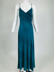Vintage Peacock Feather Print Jersey Slip Maxi Dress 1970s $55.00