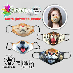 Animals Face Mask- Washable Triple Layered Filter Included $9.99