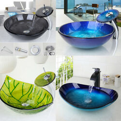 US Bathroom Tempered Glass Vessel Sink Round&Oval Bowl Mixer With Faucet Set Tap $85.00