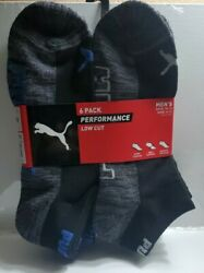 Puma Sock Low Cut Ankle Socks 6-pair  BlackBlue Color and Size 10-13 $14.67