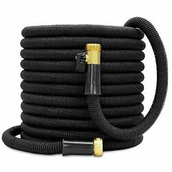 Double Latex Expandable Flexible Garden Hose with 3 4 Brass Connector 50FT Black $28.11