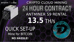 DigiByte Mining CLOUD MINING Contract Antminer Rental S9 13.5 DGB Hashing Solo $3.15