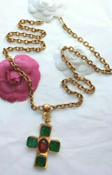 Chanel old and collector chain necklace with green cross shaped pendant