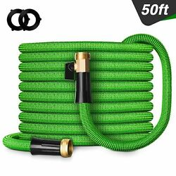 Double Latex Expandable Flexible Garden Hose with 34 Brass Connector 50FT Green $29.69