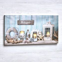 Lighted Nautical LED Wall Art Canvas with On Off Switch Ready to Hang $19.98
