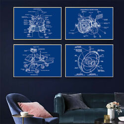 Planetary Probe Poster Blue White Sketch Canvas Art Picture Wall Paintings Decor $8.35