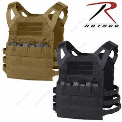 Lightweight Plate Carrier Tactical Vest - Rothco Black or Brown Mag Pouch Vests $50.99