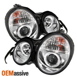 Fits 96-99 Benz W210 E-Class Chrome Clear Dual Halo Projector Headlights Lamps