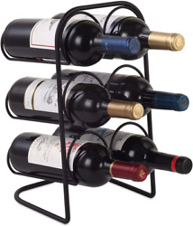 Buruis Metal Curved Wine Rack Modern Countertop Wine Holder Stand For Red Whi $39.99