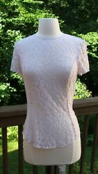 Nina Ricci Pale Lavender Stretch Lace Top Size 38 Small NWT Barneys New York $62.00