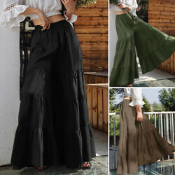 ZANZEA Womens Flare Swing Wide Leg Pants Palazzo Trousers Culottes Maxi Skirt $20.23