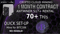 70 THs 1 Month Antminer Rental S17+ CLOUD MINING Contract Bitcoin Hashing 30Day