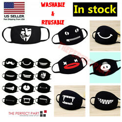 Cartoon Face Mask Cover Funny Unisex Teeth Mouth Black Cotton Printed Washable $4.98