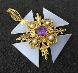 Antique 18ct 18k Gold Cannetille Amethyst Chalcedony Pearl Maltese Cross Pendant