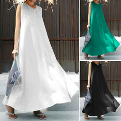 US Women Strappy Oversized Party Formal Dresses Long Sundress Solid Tank Dress $23.99