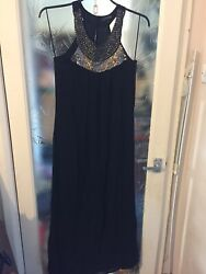 Next Signature Black Classy Long Dress Size 12 53quot; long Stunning GBP 22.00