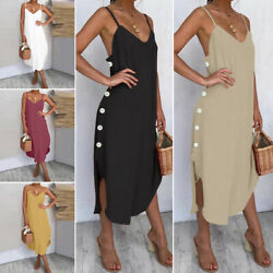 Womens Ladies Summer Beach Midi Dress Holiday Strappy Button Sun Dresses $21.99