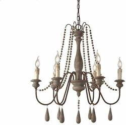 French Country Wood Bead Style Wooden Chandelier Lighting with 6 Light in Gray $213.74