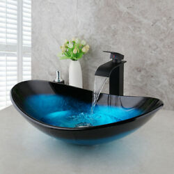 US Bathroom Oval Vessel Sink Tempered Glass Bowl Brass Basin Faucet Mixer Tap $82.00