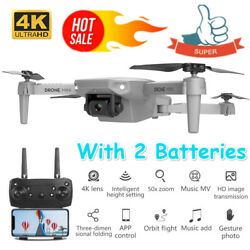 Drone MINI WIFI FPV 4K HD Camera 2 Batteries Foldable Selfie RC Quadcopter E88 $40.58