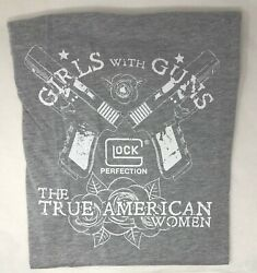 GLOCK® WOMENSGIRLS WITH GUNS TRUE AMERICAN WOMAN T SHIRT GREY $19.95