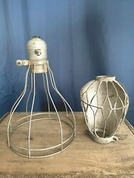 2 Vintage Light Cages Industrial Steampunk Lighting Shades $18.00