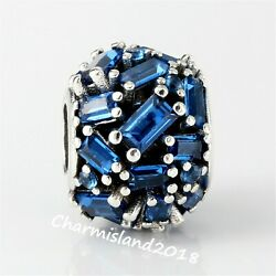 Authentic Pandora Charm 797746 Silver 925 Chiselled Elegance Blue Crystal Bead $22.99
