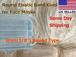 """3mm 1 8"""" BY YARD White Round Elastic Band Cord String for DIY Face Masks $0.99"""