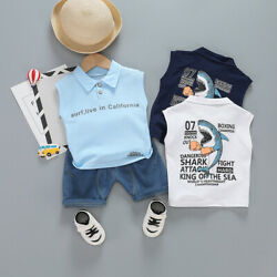 Kids Baby Boys Outfits Clothes Toddler Boy Summer Clothing T-shirt+Shorts Sets $7.99