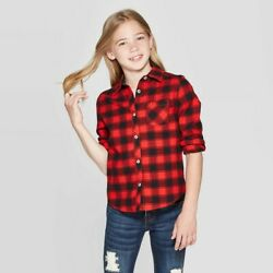 Girls#x27; Long Sleeve Buffalo Plaid Woven Button Down Cat amp; Jack Red XL $9.00
