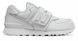 New Balance Kid#x27;s 574 Hook and Loop Little Kids Male Shoes White $20.46
