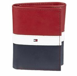 Tommy Hilfiger Men#x27;s Premium Leather Trifold Red Navy Wallet RFID 31TL110022 $24.39