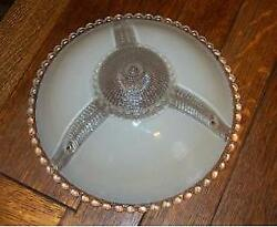 Antique Vintage Art Deco  Beige Cream Frost Clear Glass Ceiling Light Shade $49.95