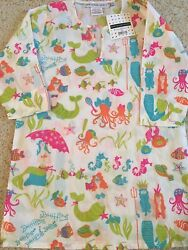 NWT Gretchen Scott Girls Beach Coverup Tunic Size 10 12 Mermaid pattern $12.99