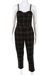 Honey Punch Brown Womens Twinsets Size Small Brown Black Plaid Print Top Pants $25.01