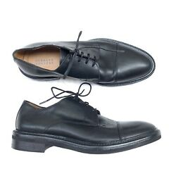 Barneys New York Mens 8 Black Leather Plain Toe Oxfords Bluchers Italy Lace Up $23.04