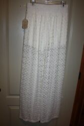 Altered State Ivory Lace Pants wide leg Built in shorts Size Large NEW $15.00