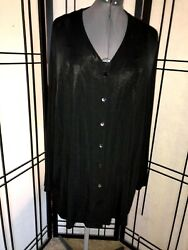 Laura Ashley Black Button down Stretch Long sleeved Long Plus size 3X Top jacket $15.00