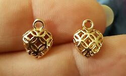Small Gold Filigree Cutout Heart Earring Charms Gold Plated 1 Pair $4.99