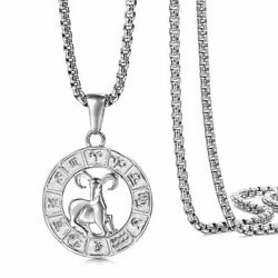 Real Stainless Steel 12 Zodiac Sign Constellation Pendant Necklace Women Men $9.02
