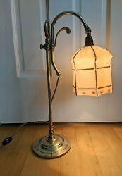 Vintage Brass Adjustable Table Lamp Hexagonal Hand-Painted Frosted Glass Shade  $65.00