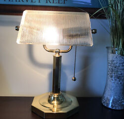 Bankers Lamp Clear Ribbed Clear Shade Antique Vintage Office Desk Gold  $49.50