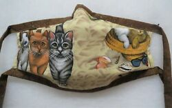Beach Cat Fabric Face Mask Nose Piece FOUR layers Filter Pocket Washable E $15.00
