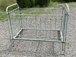 Antique Ca. 1910 CAST IRON CRIB Baby Blue Origianl Springs ~ She Shed Day Bed?