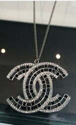 NWOT CHANEL Silver Crystal and black CC Necklace 2020 sold out $875.00