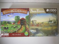 Karmin 1000 Piece Jigsaw Puzzle lot of 2 Day at the Farm - Sam Timm - complete $27.57