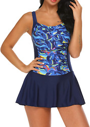 Ekouaer Swim Dress One Piece Bathing Suit Skirted Swimsuits For Women Ruched Ret $50.99