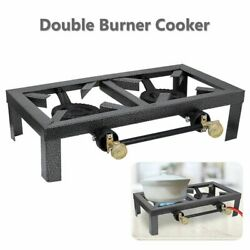 Portable Camp Stove Double Burner Cast Iron Propane Gas LPG Outdoor BBQ Cooker $28.99
