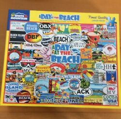 A Day at the Beach jigsaw puzzle White Mountain 1000 Pieces Complete Smoke Free $14.99
