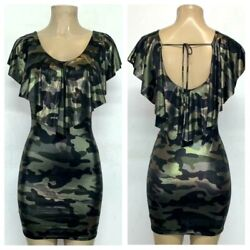 Black Gold Silver Camouflage Dress Mini Bodycon Stretch Casual Party Evening $11.99